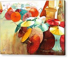 Acrylic Print featuring the painting Festive Umbrellas by Yolanda Koh