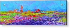 Field Of Flowers Modern Abstract Landscape Painting - Palette Knife Work Acrylic Print