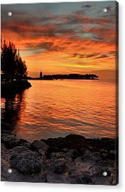 Acrylic Print featuring the photograph Fiery Sunset Reflections by Stephen  Vecchiotti