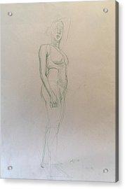 Figure Sketch Acrylic Print by Alejandro Lopez-Tasso