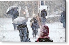 Acrylic Print featuring the digital art First Snow by Gun Legler