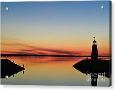 Fishing At Sunset Acrylic Print