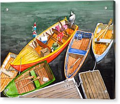 Five Boats In Rockport Harbor Acrylic Print