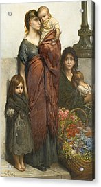 Flower Sellers Of London Acrylic Print by Gustave Dore
