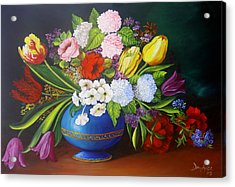 Flowers In A Vase Acrylic Print by Dominica Alcantara