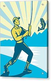 Fly Fisherman Fishing Retro Woodcut Acrylic Print by Aloysius Patrimonio