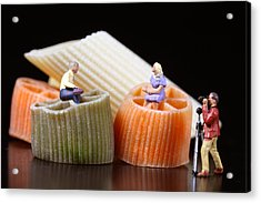 Food Experts At Talk Acrylic Print by Elke Rampfl-Platte