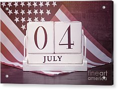 Fourth Of July Vintage Wood Calendar With Flag Background.  Acrylic Print