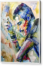 Freddie Mercury Watercolor Acrylic Print