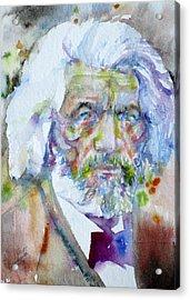 Frederick Douglass - Watercolor Portrait Acrylic Print by Fabrizio Cassetta