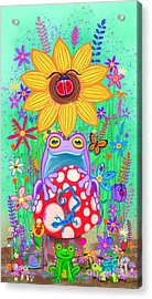 Frogs And Flowers Acrylic Print
