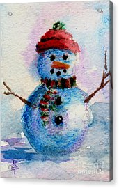 Acrylic Print featuring the painting Frosty Aceo by Brenda Thour