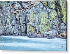 Frozen River And Rocky Cliff Acrylic Print