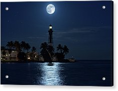 Full Moon Over Hillsboro Lighthouse In Pompano Beach Florida Acrylic Print