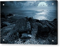 Fullmoon Over The Ocean Acrylic Print by Jaroslaw Grudzinski