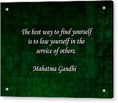Gandhi Inspirational Quote About Self-help Acrylic Print