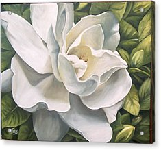 Acrylic Print featuring the painting Gardenia by Natalia Tejera