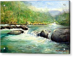 Gatlinburg River Acrylic Print by Max Mckenzie