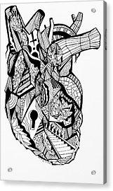 Geometric Heart Acrylic Print by Kenal Louis