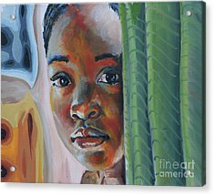 Girl Behind The Green Curtain Acrylic Print