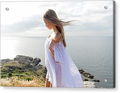 Girl In A White Dress By The Sea Acrylic Print