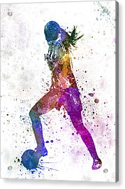 Girl Playing Soccer Football Player Silhouette Acrylic Print
