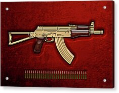 Gold A K S-74 U Assault Rifle With 5.45x39 Rounds Over Red Velvet   Acrylic Print by Serge Averbukh