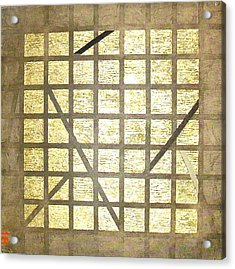 Acrylic Print featuring the painting Golden Gridwork by Bernard Goodman