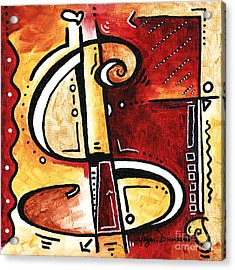 Golden Is A Fun Funky Mini Pop Art Style Original Money Painting By Megan Duncanson Acrylic Print