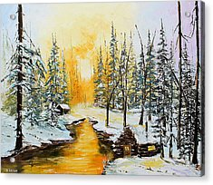 Golden Winter Acrylic Print