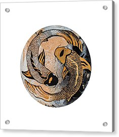 Acrylic Print featuring the painting Golden Yin And Yang by Darice Machel McGuire
