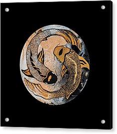 Golden Yin And Yang Acrylic Print