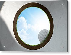 Golf Hole With Ball Approaching Acrylic Print by Allan Swart