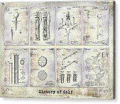 Golf Patent History Drawing Acrylic Print by Jon Neidert