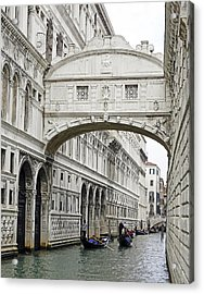 Gondolas Going Under The Bridge Of Sighs In Venice Italy Acrylic Print