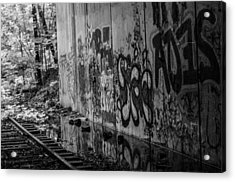 Graffitti And Train Tracks Acrylic Print