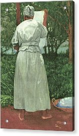 Granny At The Line Acrylic Print by Perry Ashe