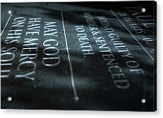 Gravestone Of Convicted Murderer Acrylic Print