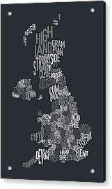 Great Britain County Text Map Acrylic Print by Michael Tompsett