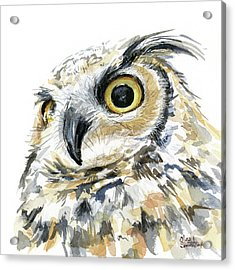 Great Horned Owl Watercolor Acrylic Print by Olga Shvartsur