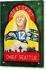 Great Spirit Seattle 12s Acrylic Print by Rand Swift