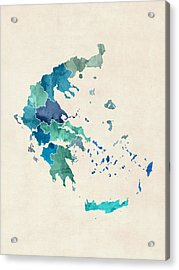 Greece Watercolor Map Acrylic Print by Michael Tompsett