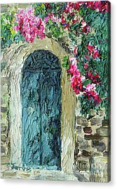 Green Italian Door With Flowers Acrylic Print