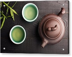 Green Tea In The Tea Cups Acrylic Print by Vadim Goodwill