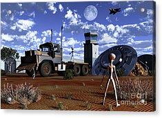 Grey Aliens Recovering Their Flying Acrylic Print by Mark Stevenson