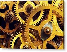 Grunge Gear Cog Wheels Background Acrylic Print by Michal Bednarek