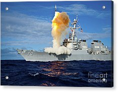 Guided Missile Destroyer Uss Hopper Acrylic Print by Stocktrek Images