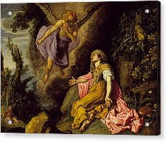 Hagar And The Angel Acrylic Print by Pieter Lastman