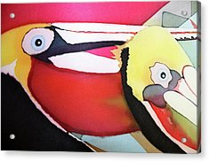Hand Painted Silk Scarf Peruvian Pelicans Acrylic Print