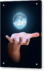 Hand With Cryptocurrency Hologram Acrylic Print